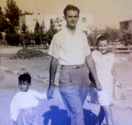 My grandfather Izak with my father and my aunt in Israel